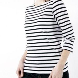 Saint James Black White Striped 3/4 Sleeve Shirt